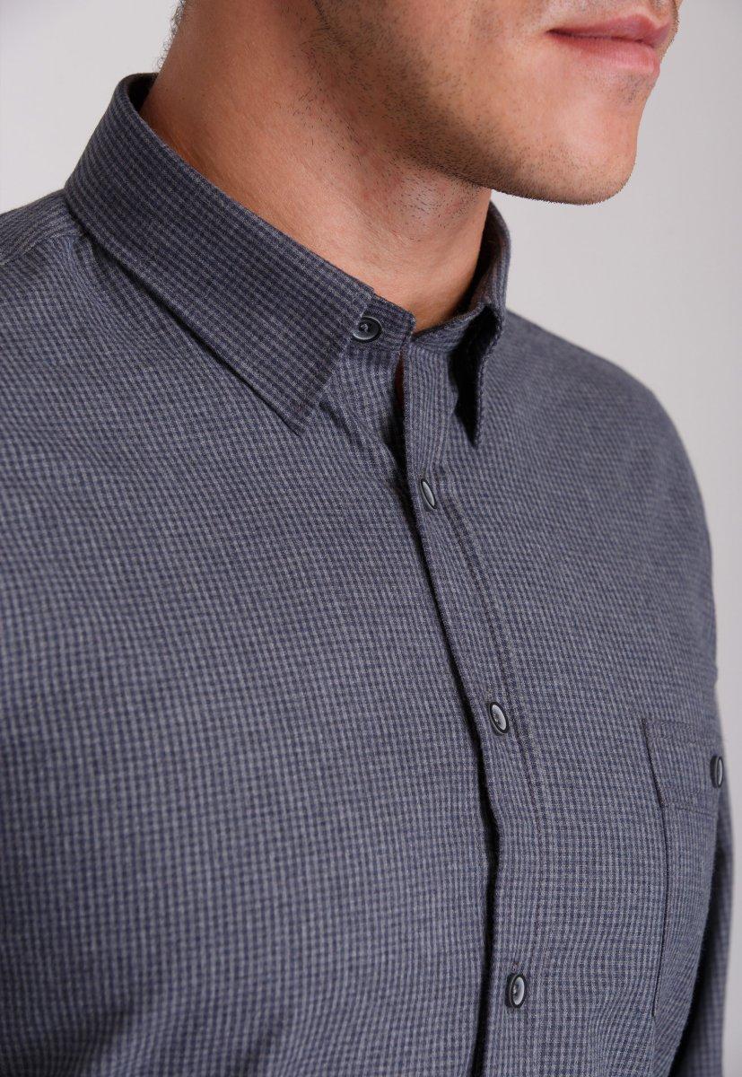 Рубашка мужская Trend Collection 7009 Серый+клетка №8 - Фото 1