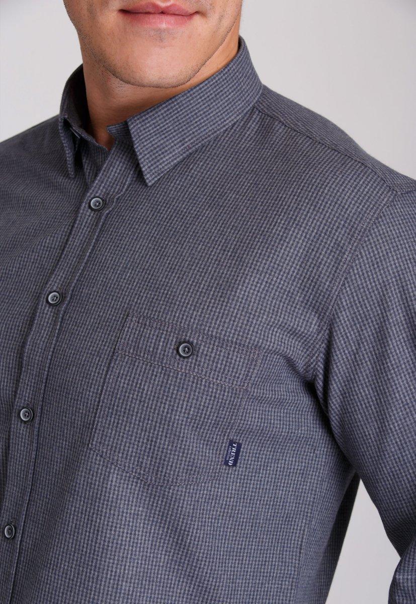 Рубашка мужская Trend Collection 7009 Серый+клетка №8 - Фото 2