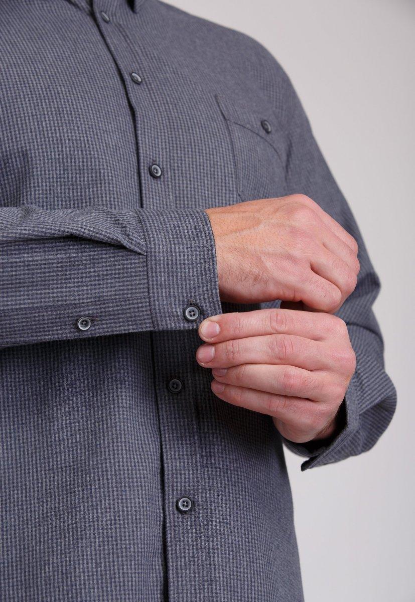 Рубашка мужская Trend Collection 7009 Серый+клетка №8 - Фото 3