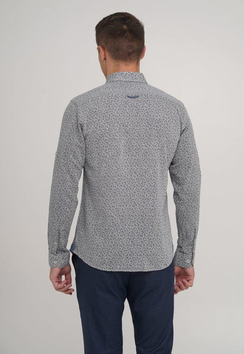 Рубашка,лен Trend Collection 20068-13 Серый+листья - Фото 1