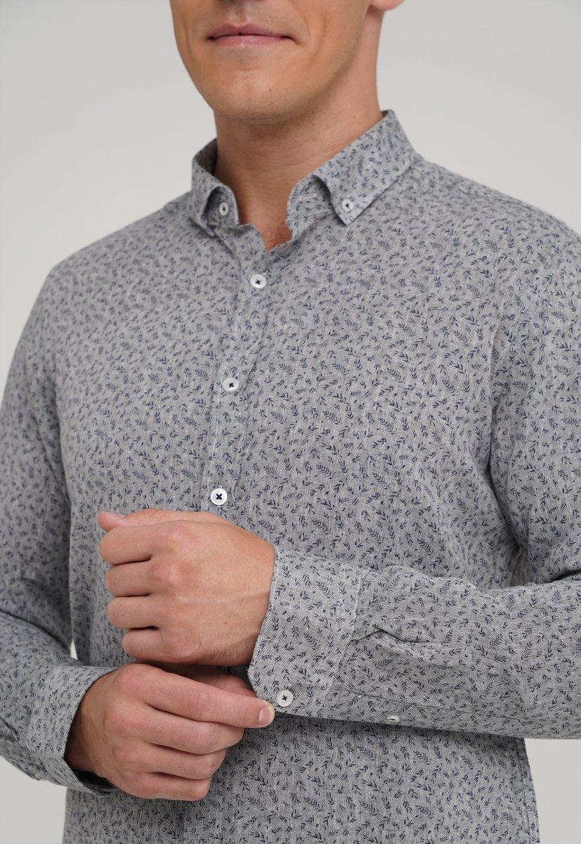 Рубашка,лен Trend Collection 20068-13 Серый+листья - Фото 2